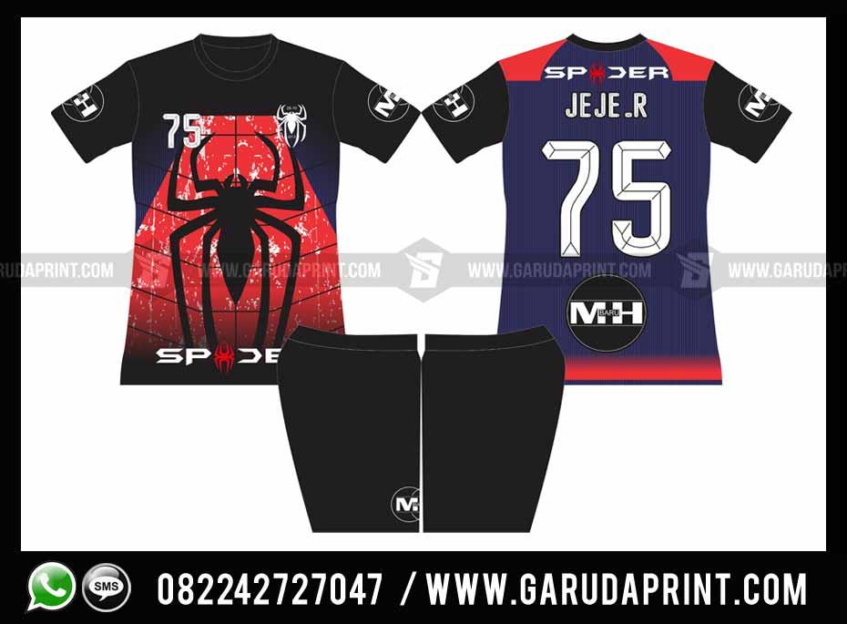 Pembuatan Kostum Futsal Full Print Motif Desain Spider