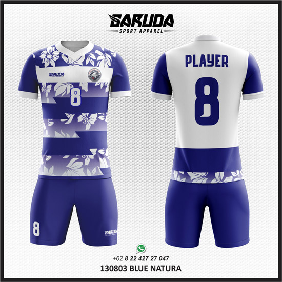 Desain Baju Bola Futsal Blue Natura gambar daun