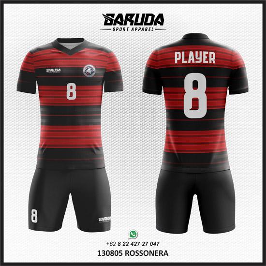 Desain kaos futsal merah hitam