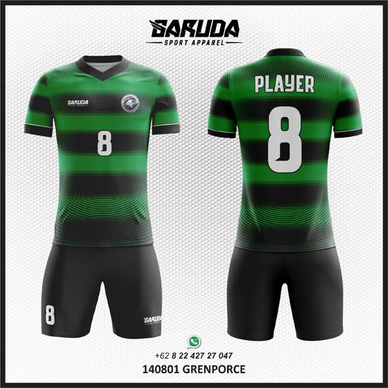 Desain Jersey Futsal Sepakbola Grenporce warna hijau hitam