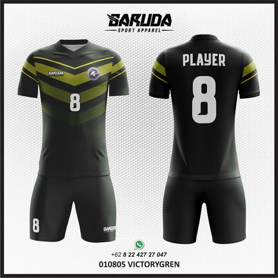 Desain Kaos Bola Hitam kombinasi hijau
