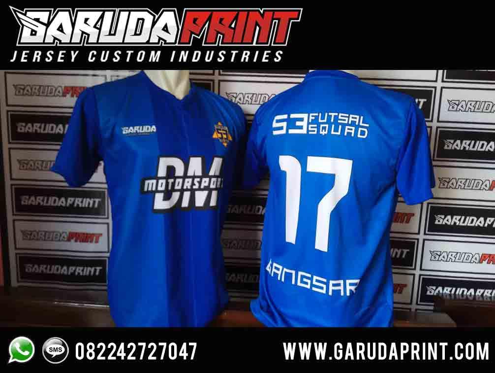 Desain Kaos Futsal Depan Belakang Warna Biru yang Elegan