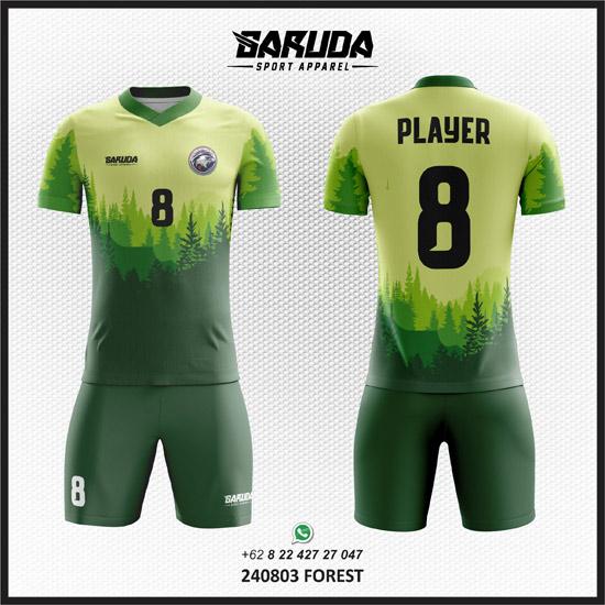 Desain Kaos Futsal Hijau motif alam