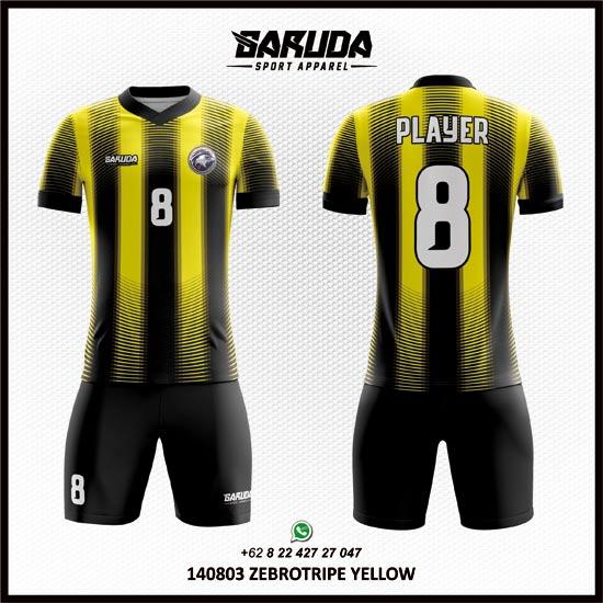 Desain Kaos Futsal Kuning Hitam motif garis-garis