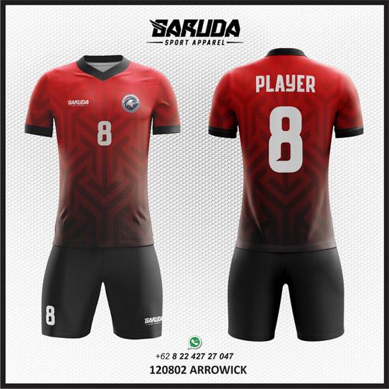 Desain Kaos Futsal Merah gradasi warna Hitam