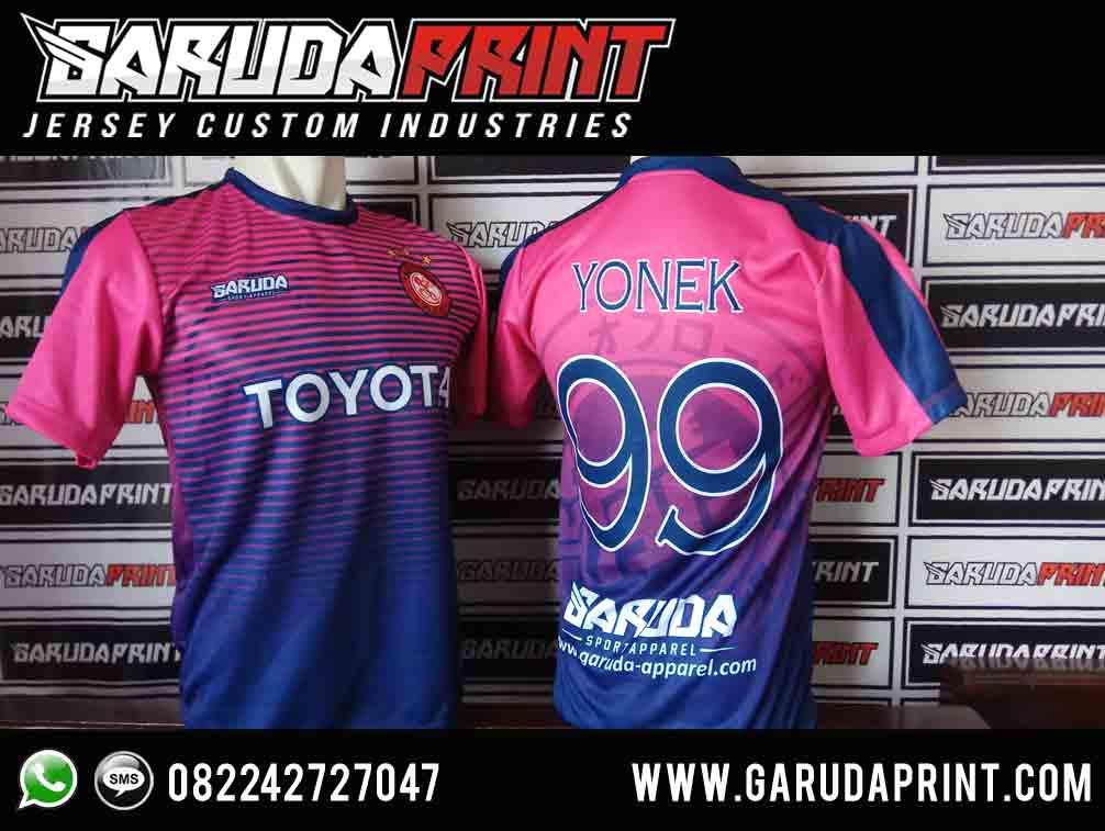 pembuatan kaos futsal warna pink full printing