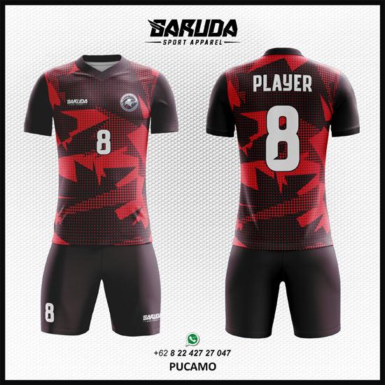 Desain Baju Futsal Printing Keren Merah- Pucamo  Garuda