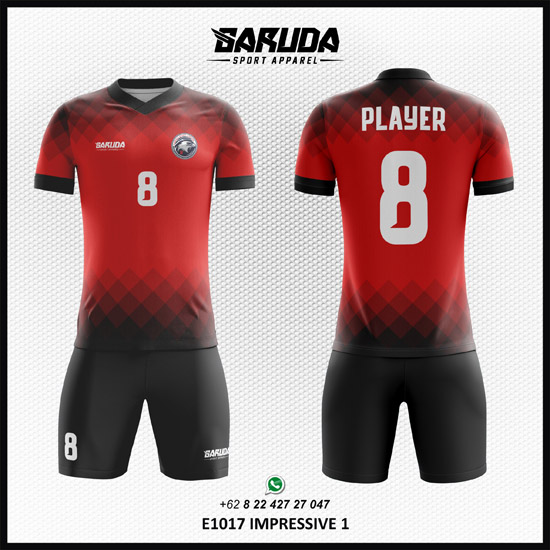 Desain Jersey Futsal Printing Impressive merah