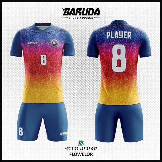 Desain Kaos Futsal Flowelor Ornament gambar batik Bunga