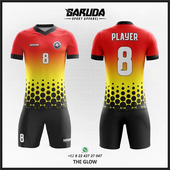 Desain Kostum Seragam Futsal Printing The Glow gradasi merah dan kuning