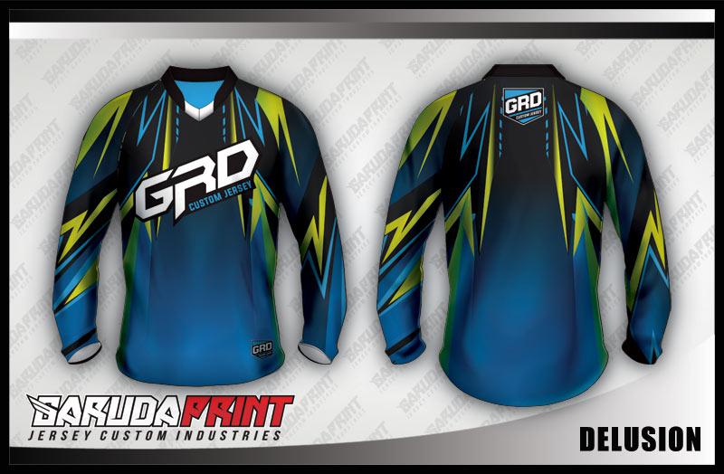 desain baju sepeda downhill gradasi biru kuning