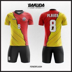 Desain Baju Futsal Printing Fenerflash Merah Kuning