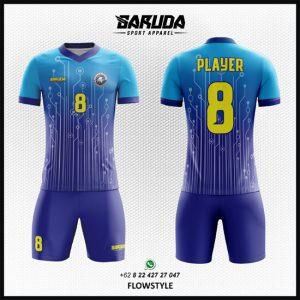 Desain Baju Futsal Printing Flowstyle Biru Gradasi