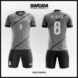 Desain Baju Futsal Terbaru Greystripes Warna Abu