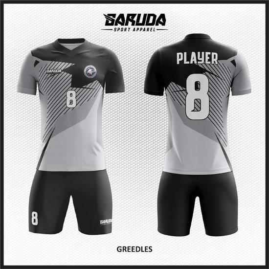 Desain Jersey Futsal Printing Greedles, Warna Abu Motif Garis