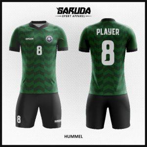 Desain Baju Bola dan Futsal Hummel Warna Hitam Hijau