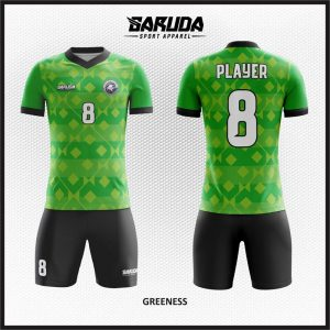 Desain Jersey Futsal Greeness Hijau List Hitam