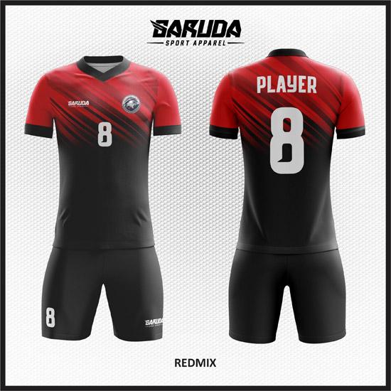 8 Desain Baju Futsal Kode Redmix Merah Hitam Gradasi
