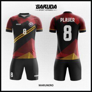 Desain Kostum Futsal Code Marunero Kombinasi Marun Dan Hitam
