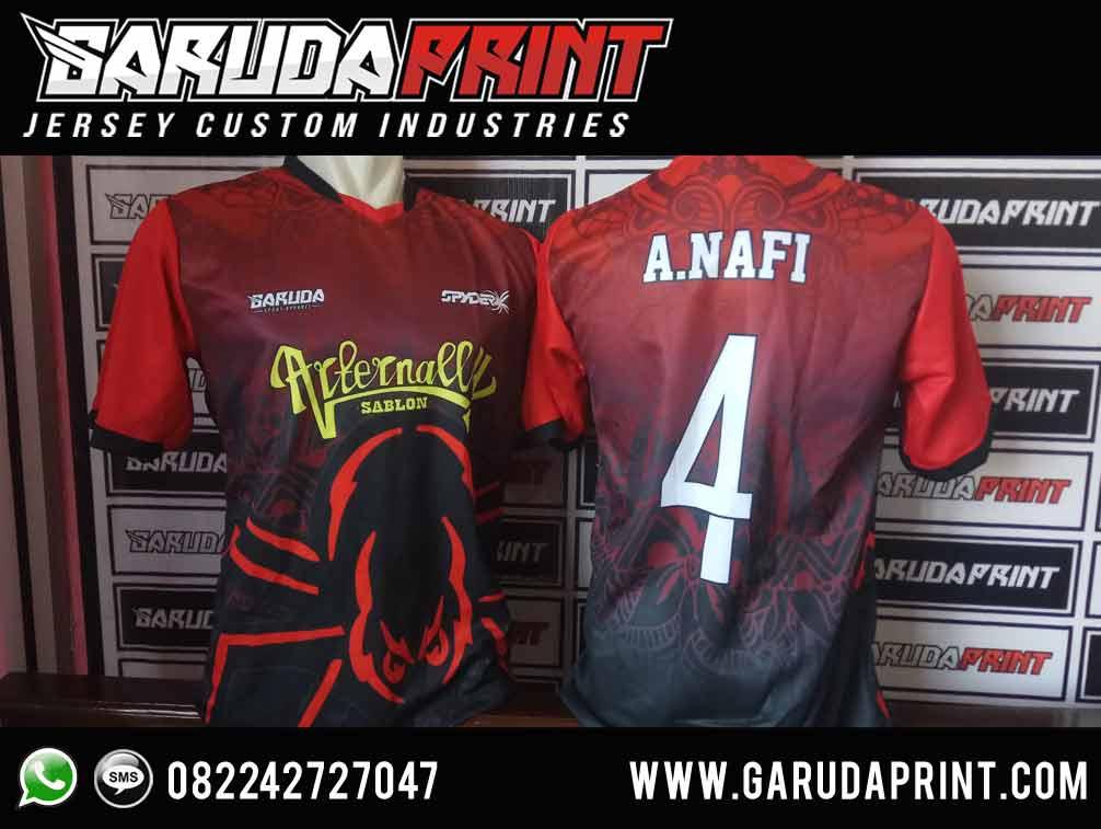Produksi Kaos Bola Futsal Motif Gradasi hitam merah