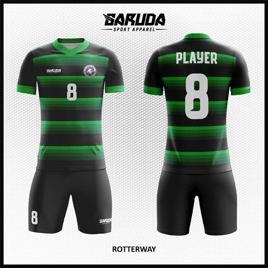 desain koas futsal elegan hijau hitam
