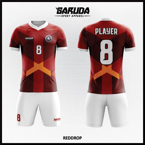 desain jersey sepakbola printing code REDDROP merah bata