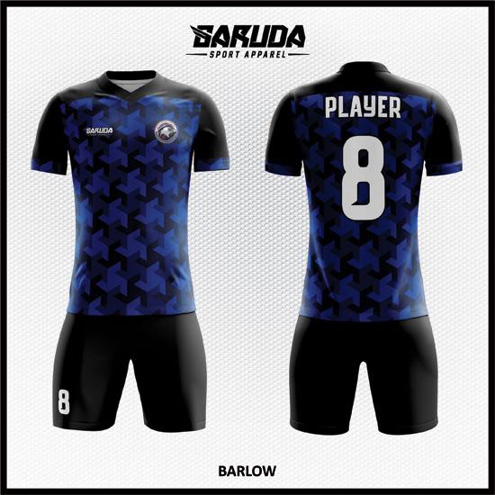Desain Kaos Futsal Full Print Code Barlow Warna Biru dan Hitam