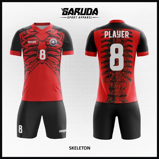 Desain Kostum Bola Futsal unik Printing Code Skeleton Gambar Susunan Kerangka Tulang