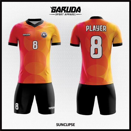 Desain Kostum Bola Futsal Printing Code Sunclipse WARNA ORANGETampilkan Pesonamu Saat Bertanding