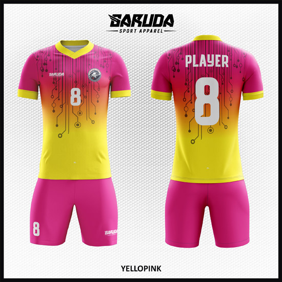 desain seragam bola futsal printing code YELLOPINK WARNA KUNING PINK