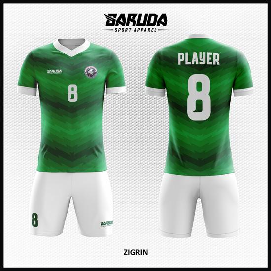 desain seragam sepakbola printing warna hijau code ZIGRIN