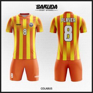 Desain Jersey Bola Futsal Printing Colabus Yang Energik Warna Orange Kuning