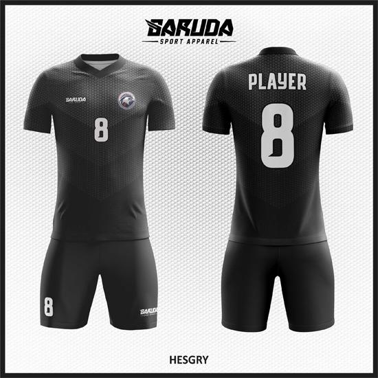 Desain Kostum Sepakbola Printing Code Hesgry Hitam Yang Gagah