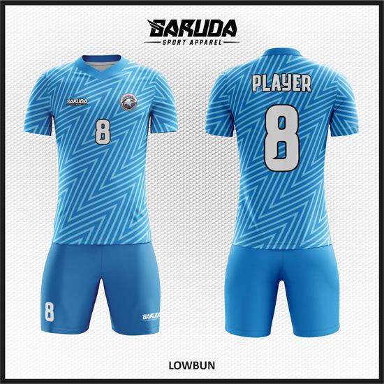 Desain Seragam Bola Futsal Printing Motif Garis Zigzag Diagonal Code Lowbun warna biru