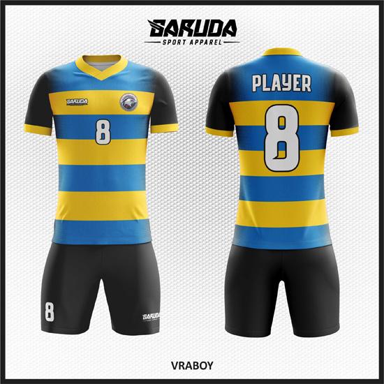 Desain Baju Futsal Full Print Code Vraboy Terbaru Biru Kuning