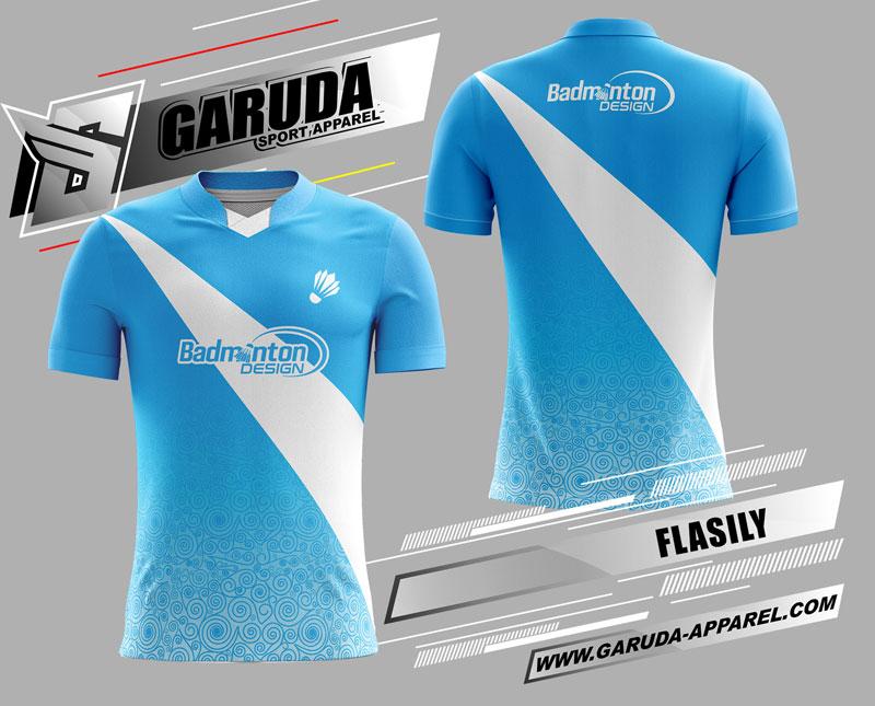 desain kaos badminton printing biru muda