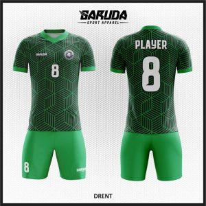 Desain Baju Bola Futsal Code Drent Motif Garis Garis Hijau