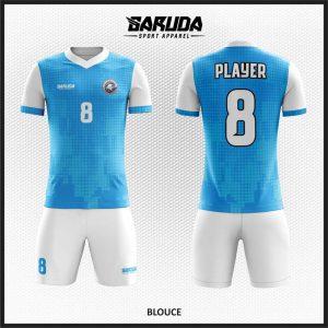Desain Baju Futsal Code Blouce Biru Putih dengan Tampilan Maskulin dan Menawan