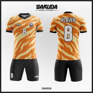 Desain Seragam Bola Futsal Code Oniren Warna Orange Paling Keren