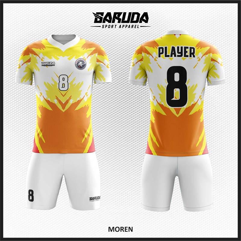 Desain Kostum Sepakbola Code Moren Paling Keren Kuning Putih Orange
