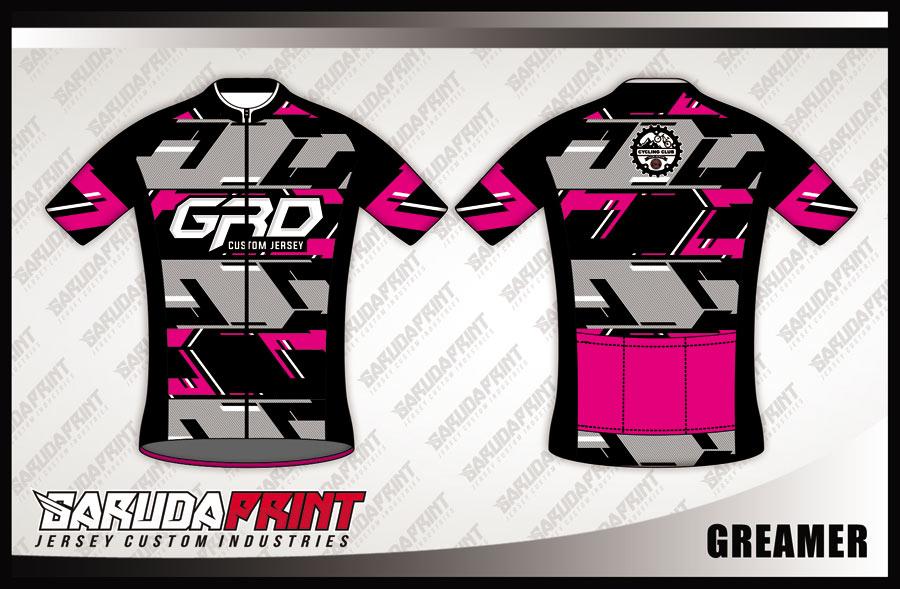 Buat Baju Sepeda Road Bike Warna Pink Hitam Dan Abu