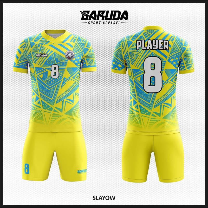 Desain Seragam Bola Futsal Code Slayow Warna Kuning Biru Bernuasa Etnic