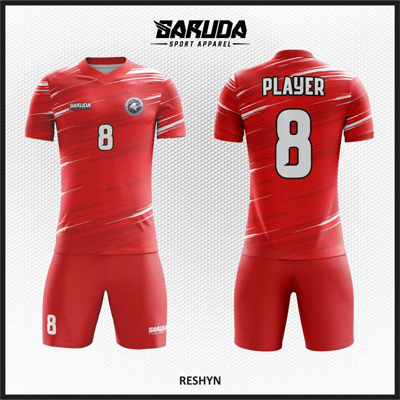 Desain Kaos Sepakbola Code Reshyn Warna Merah Selera Pemberani