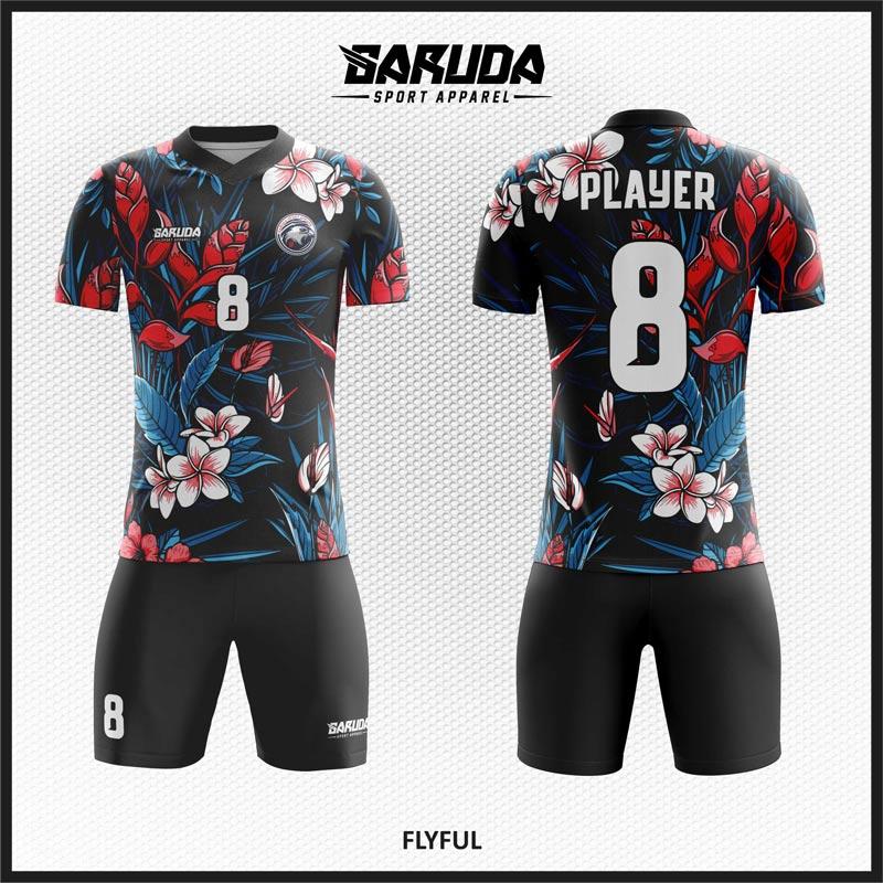 Desain Kaos Futsal Flyful Motif Bunga Yang Anggun