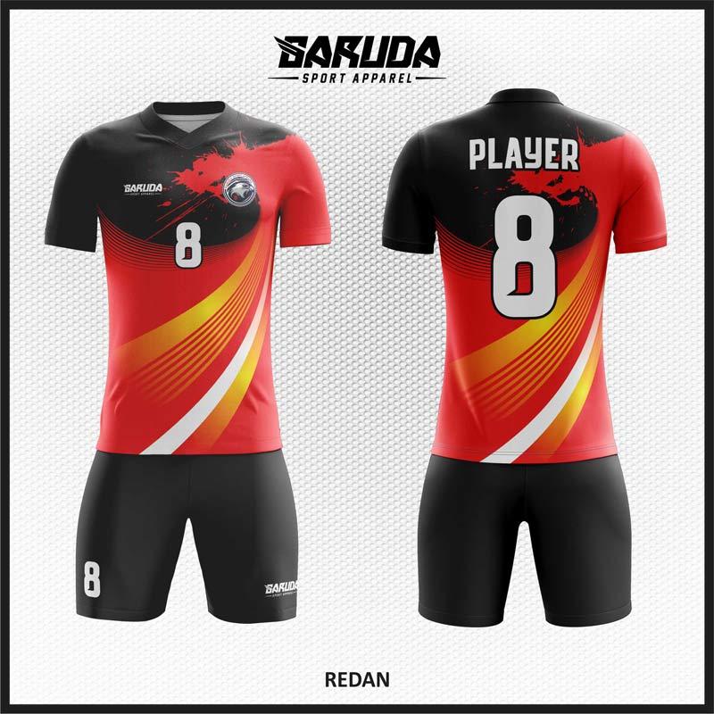 Desain Kostum Futsal Redan Warna Merah Hitam Menawan