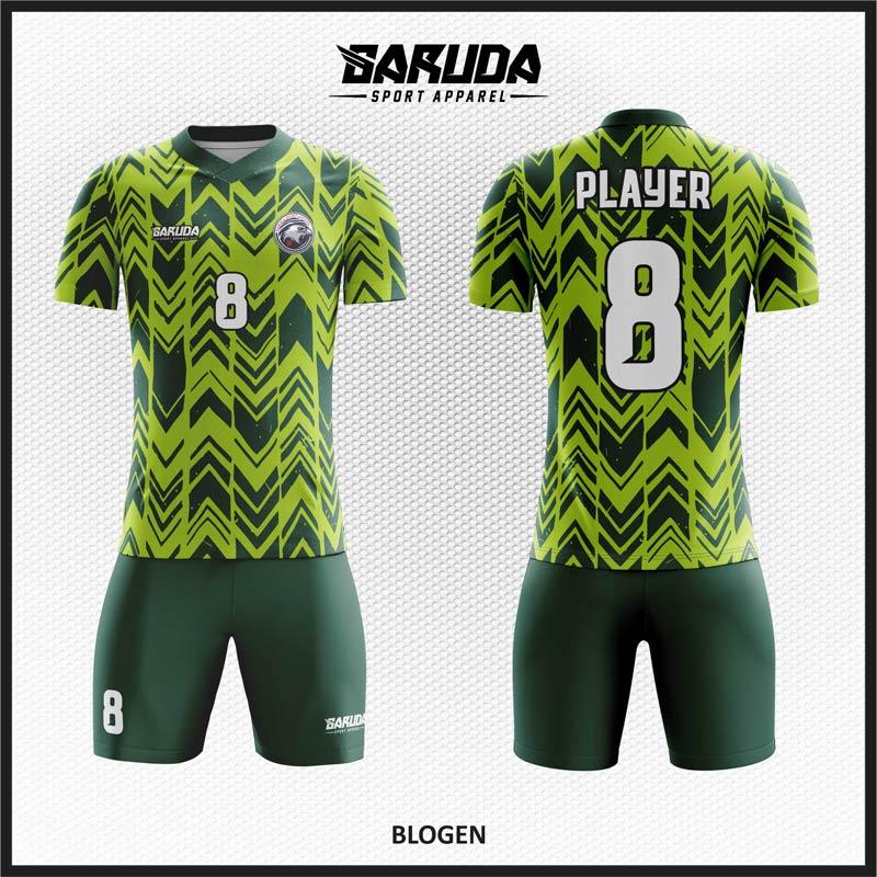 Desain Baju Bola Full Print Blogen Gradasi Warna Hijau Motif Zig Zag
