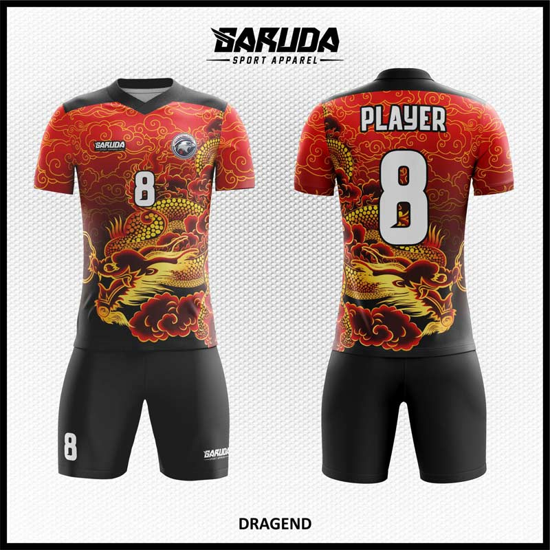Desain Jersey Bola Futsal Full Print Warna Merah Hitam Motif Naga