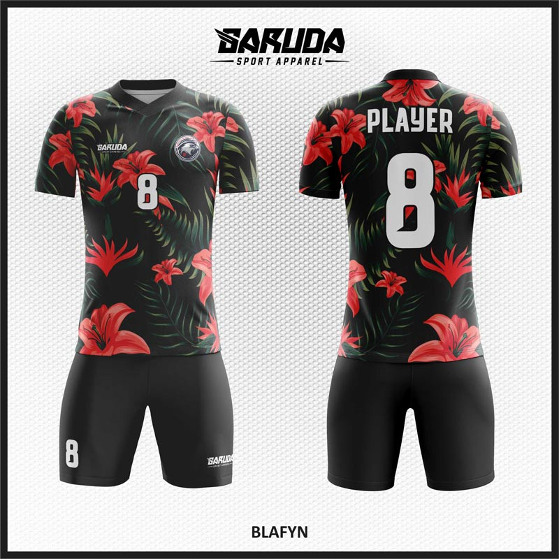 Desain Kostum Futsal Blafyn Warna Hitam Motif Bunga