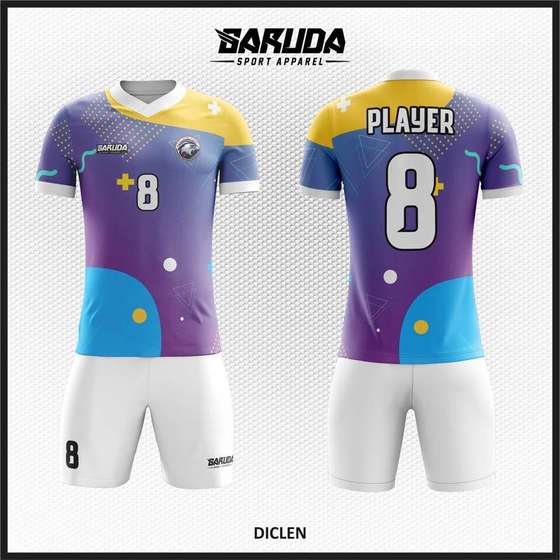 Desain Kaos Futsal Full Print Diclen Warna Ungu Yang Cool