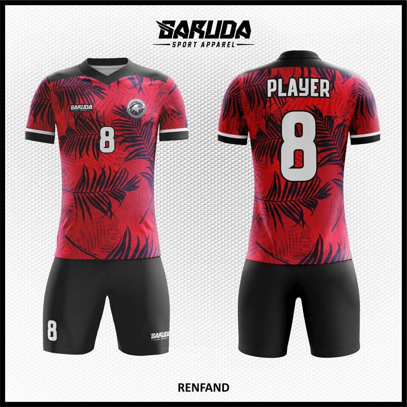 Desain Jersey Futsal printingRenfand Warna Merah Hitam Motif Daun Yang Elegan
